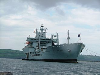 RFA Wave Knight (A389) - Wave Knight at anchor in Plymouth Sound, 2008