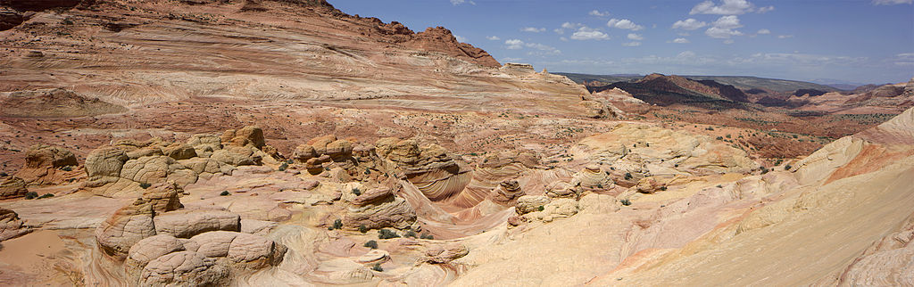 Panoramic photograph of the Wave taken in Arizona looking NNW toward the Wave Trail and the Arizona/Utah border.