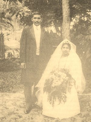 D. S. Senanayake - Wedding of D. S. Senanayake and Mollie Dunuwille in 1910.