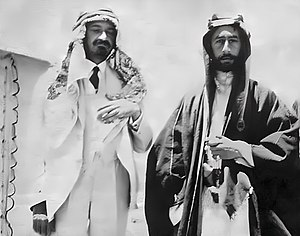 History of the Arab–Israeli conflict - 1918. Emir Faisal and Chaim Weizmann (left, also wearing Arab outfit)