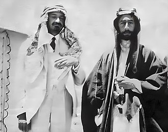 Timelines of Ottoman Syria history - first meeting between Chaim Weizmann (wearing Arab dress as a sign of friendship) and the Hashemite Prince Faisal in Transjordan in an attempt to establish favourable relations between Arabs and Jews in the Middle East, June 1918.