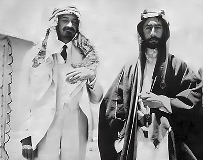 Weizmann (left) with Faisal I of Iraq in Syria, 1918 Weizmann and feisal 1918.jpg