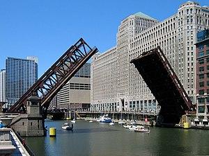 Wells Street Bridge (Chicago) - Wells Street Bridge raised to allow sailboats to pass