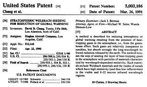 English: Welsbach Patent for geoengineering ak...