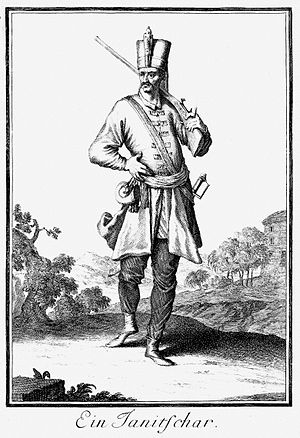 Ottoman persecution of Alevis - Image of a Janissary from 1703