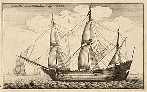 Merchant vessel - Historical merchant trading ship: a Dutch fluyt cargo vessel from the late 17th-century