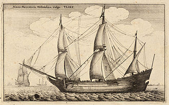 Merchant ship - Historical merchant trading ship: a Dutch fluyt cargo vessel from the late 17th-century