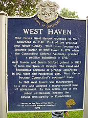 West Haven town historical sign