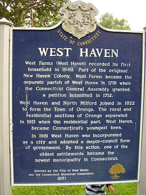 West Haven, Connecticut - West Haven historical marker