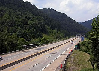 Interstate 77 in West Virginia - The West Virginia Turnpike in Kanawha County near the Morton Service Area