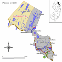Map of West Milford Township in Passaic County. Inset shows Passaic County's location in New Jersey