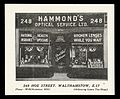 Whist Card advertising Hammond's Optical Service Wellcome L0040511.jpg