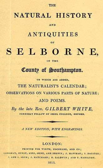 Gilbert White - Title page of White's Natural History, which he published late in life