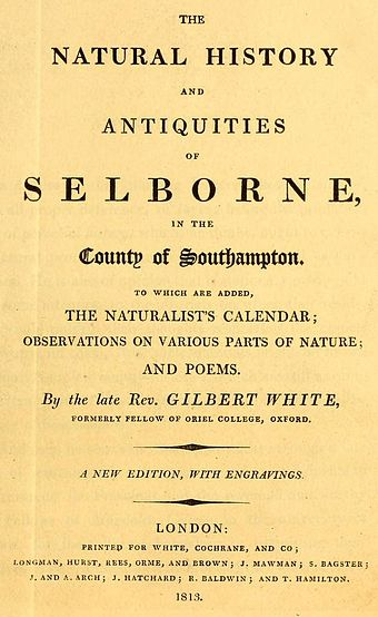 Title page of White's Natural History, which he published late in life White's Selborne 1813 title page (detail).jpg