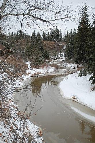 Whitemud Creek - Whitemud Creek as it flows through the Mactaggart Sanctuary, April 2013