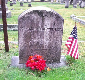 1892 in poetry - Grave of John Greenleaf Whittier in Amesbury, MA