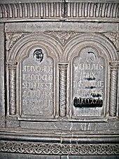 Widmungsinschrift des Herzogs am Grab seines Ahnen Adolf von Nassau, 1824, Dom zu Speyer (Quelle: Wikimedia)