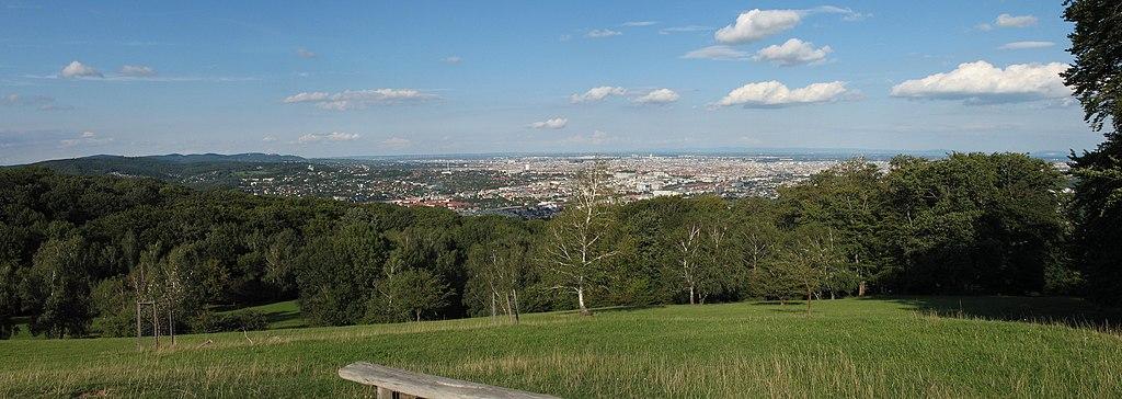 Blick auf Wien vom Aussichtspunkt Wiener Blick (im Lainzer Tiergarten; UNESCO-Biosphärenreservat Wienerwald)