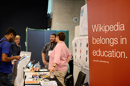 Wikimania 2014 WMF Grantmaking Booth 01.JPG