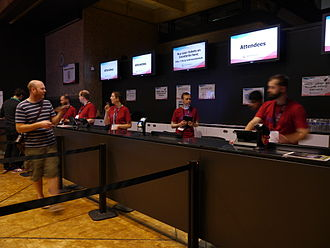 Wikimania 2014 registration desk at 9am on Friday.jpg