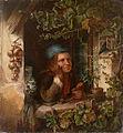 Wilhelm Wanderer Knabe blickt aus efeuberanktem Fenster.jpg