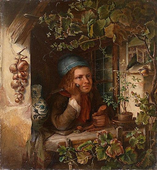 Wilhelm Wanderer Knabe blickt aus efeuberanktem Fenster