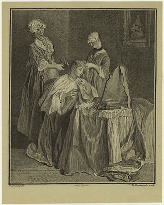 Louise-Magdeleine Horthemels - Woman Having Her Hair Styled by Nicolas Lancret, engraved by Horthemels