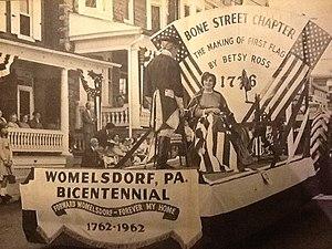 Womelsdorf, Pennsylvania - Womelsdorf parade 1962, Betsy Ross float.