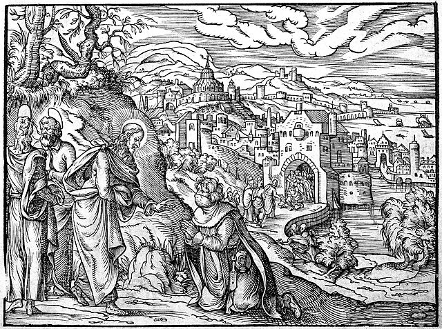 filewoodcut christ healing a leper 16th century