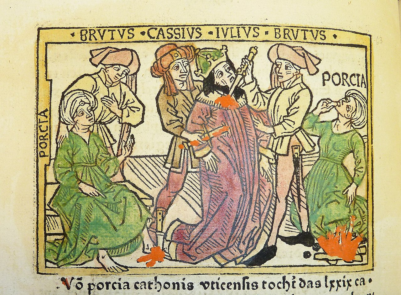 file woodcut illustration of porcia catonis counseling marcus  file woodcut illustration of porcia catonis counseling marcus junius brutus julius caesar s death at the hands of brutus and gaius cassius longinus