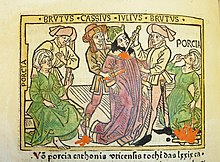 Woodcut illustration of Porcia Catonis counseling Marcus Junius Brutus, Julius Caesar's death at the hands of Brutus and Gaius Cassius Longinus, and Porcia's suicide - Penn Provenance Project.jpg