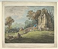 Wooded Landscape with Peasant Reading Tombstone, Rustic Lovers and Ruined Church MET DP819244.jpg