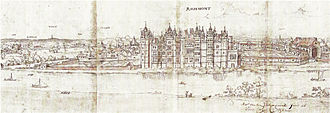 Tudor architecture - Richmond Palace, west front, drawn by Antony Wyngaerde in 1562
