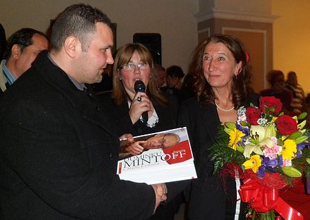 Yana Mintoff Bland receive Biography Book Malta Dominic Mintoff and at birthday by Author Profs Josef Grech.jpg