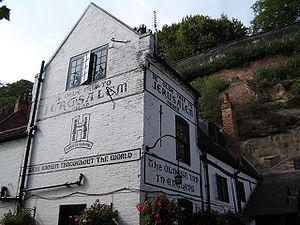 Ye Olde Trip to Jerusalem - The front of the pub in 2005