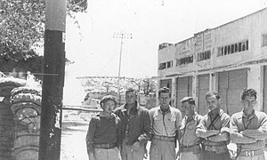 Elad Peled - Yiftach Brigade commanders in Safed,1948. Elad Peled with glasses. Moshe Kelman to his left.