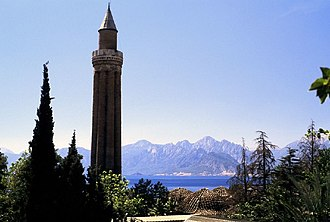 Anatolian beyliks - Yivli Minare Mosque, symbol of Antalya, built by the Beylik of Teke circa 1375.