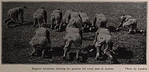 "T formation - The T formation, described as the ""regular formation"", in Fielding Yost's 1905 book Football for Player and Spectator"