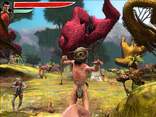 A screenshot of the game in first-person perspective. The player is engaged in battle with several enemies in a forest.