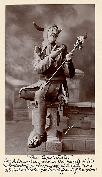 Jester - A court jester, carrying a marotte, selected for the Pageant of Empire in 1909