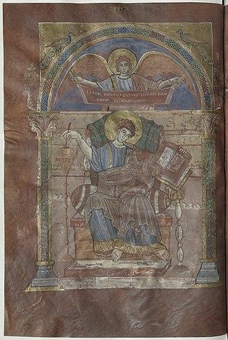 Abbeville - Miniature de saint Matthieu, St. Riquier Gospels, municipal library