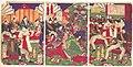 『鹿児島賊徒鎮静依諸将 天杯頂戴之図』-Leaders of the Pacification of the Kagoshima Rebels Celebrating with Cups of Wine from the Emperor (Kagoshima zokuto chinsei ni yotte shoshō tenhai chōdai no zu) MET DP147655.jpg