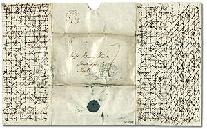 Crossed letter - A crossed letter, 1837, Ontario, Canada