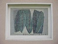 1170 Andergasse 10-12 - Ernest Bevin-Hof Stg 14 - Hauszeichen Kastanienblätter von Elisabeth Eisler 1958 IMG 4775.jpg