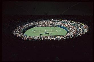 Sydney Olympic Park Tennis Centre - Image: 141100 Wheelchair tennis Olympic Tennis Arena view 2 3b 2000 Sydney match photo