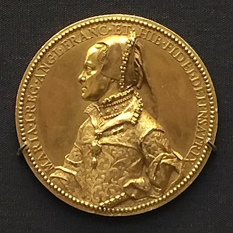 "Defender of the Faith - Medal of Queen Mary I with the legend ""Maria I Reg. Angl. Franc. et Hib. Fidei Defensatrix"""
