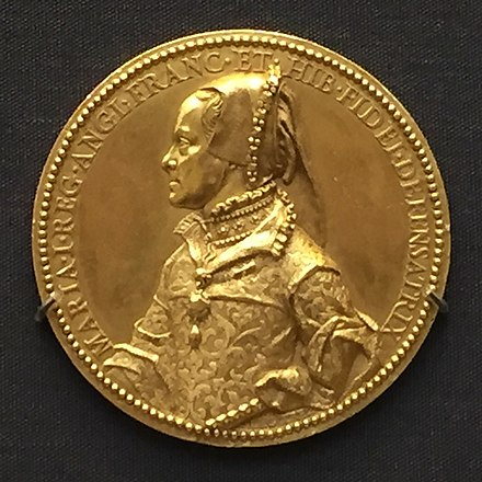 "Gold medal showing Mary as ""Defender of the Faith"", 1555 1555 gold medal Queen Mary I of England.jpg"