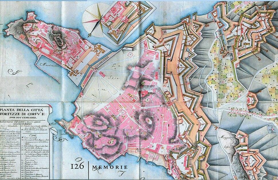 1780~. Pianta della citt%C3%A0 e fortezze di Corf%C3%B9
