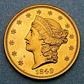 1849 $20 Liberty Head double eagle pattern (obverse).jpg