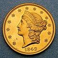 1849 $20 Liberty Head double eagle pattern (obverse).jpg